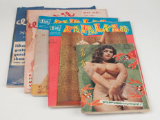Erotica; Lot with 5 vintage pin up magazines from Scandinavia - 1956/1959