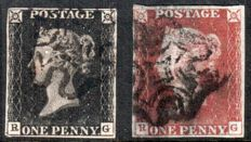 Great Britain Queen Victoria 1840 - Stanley Gibbons 2 and 7, Matching penny black and red, plate 5.