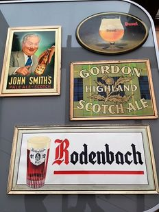 Lot of old beer advertising boards, 1950 to 1980,