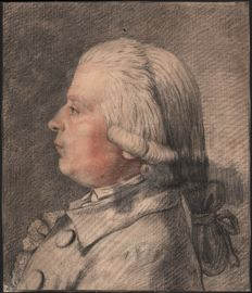 Gabriel de Saint-Aubin (1724-1780) Attributed - Black and red chalk drawing of a bust of a man with a wig - Ca. 1740/80