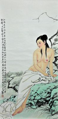 Hand-painted large scroll painting, He Jiaying《 何家英-裸女 》- China - late 20th century