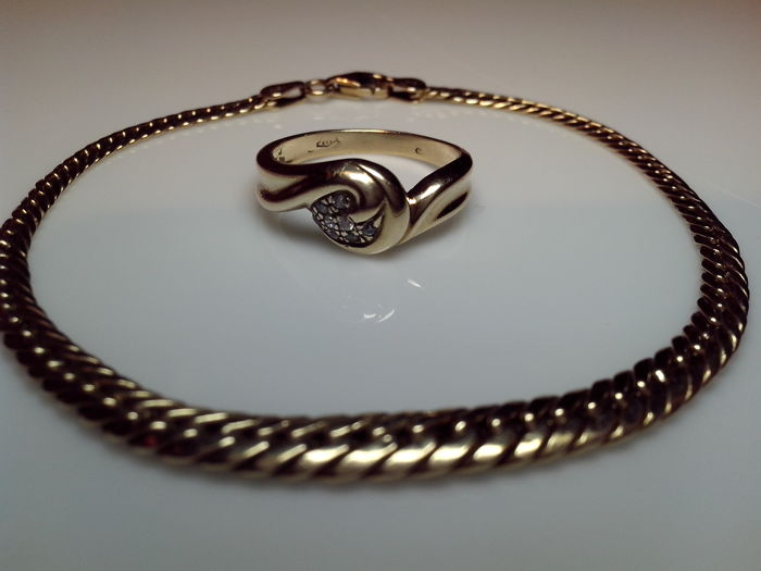 Gold set with bracelet and cocktail ring in 585/14K gold