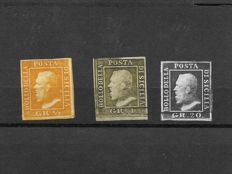 Sicily 1859 - three stamps, 1/2, 1, 20 gr. - Sassone Nos. 2, 5 and 13