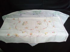 2- Tablecloths with Flower Handmade Embroidery