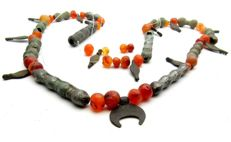 Viking Necklace with Amber and Bronze Beads  - 620 mm