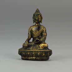Sino Tibetan Bronze Statue of a Buddha on Lotus - Tibet - Late 20th century