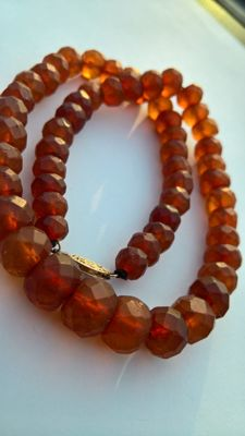Antique cognac beads, from natural Baltic Amber.