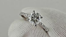 1.29  ct round diamond solitaire ring 14 k gold - size 5,5