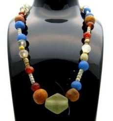 Viking Necklace with Coloured Glass & Stone Beads - 400 mm