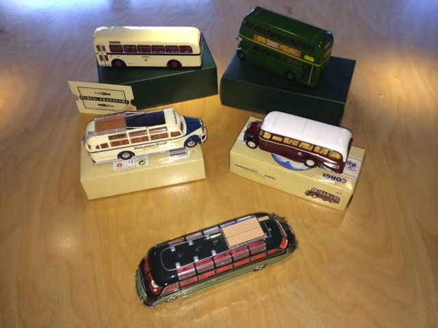 Corgi / Solido / Minichamps / Dinky Toys-Matchbox - Scale 1/43-1/50 - Lot with 5 models: Setra, Bedford, Omnibus, AEC & Leyland