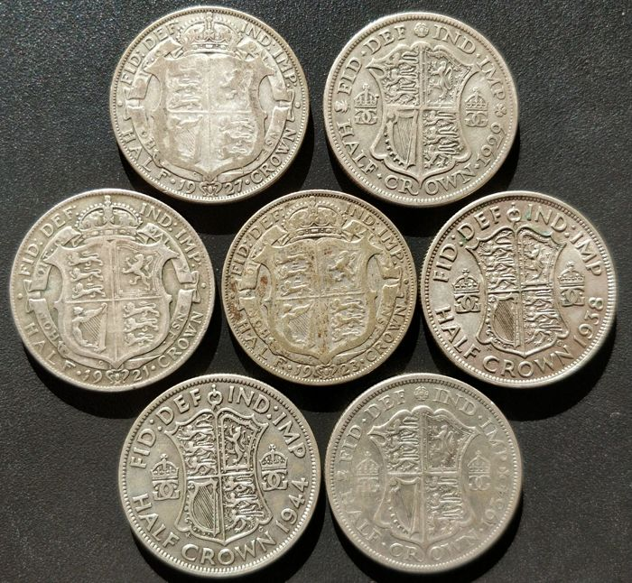 United Kingdom - ½ Crown 1921/1944 George V and VI (7 pieces) - silver