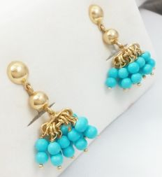 Earrings - Turquoises - 18 kt Yellow Gold