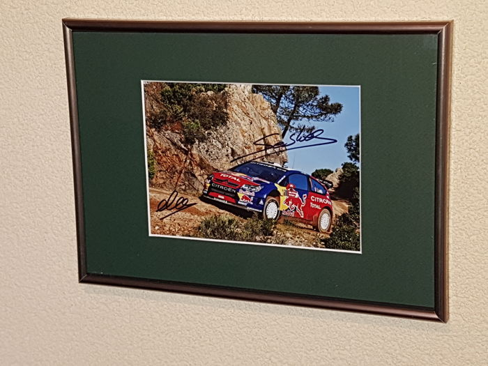 Sebastien Loeb and Daniel Elena - 7 times World Champion WRC - fantastic both hand signed framed photo + COA