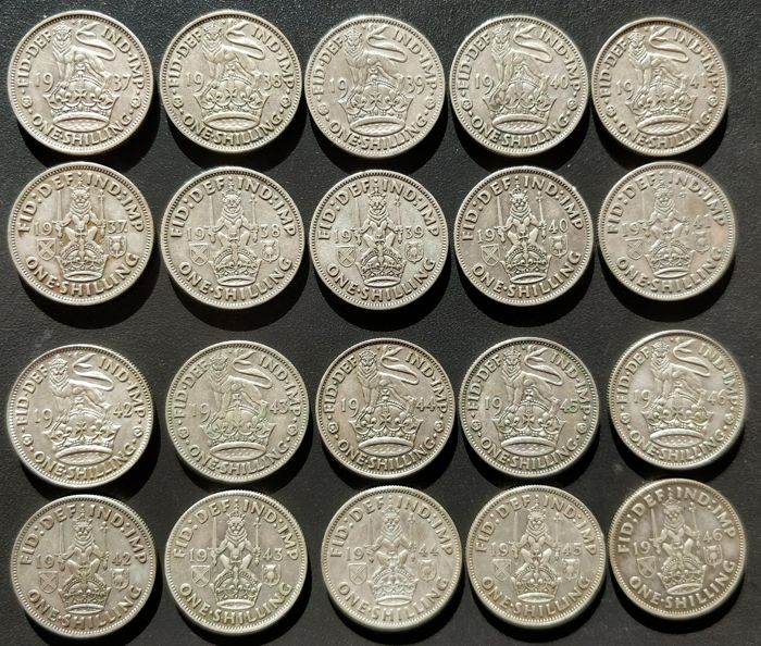 United Kingdom - Shilling 1937/1946 George VI (20 pieces coin run) - silver