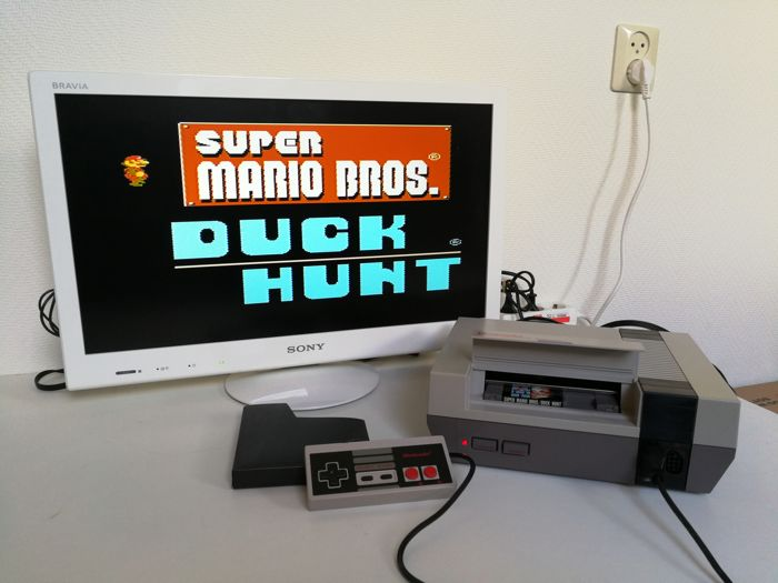 Retro 8-bit Nintendo Entertainment System with Super Mario ...