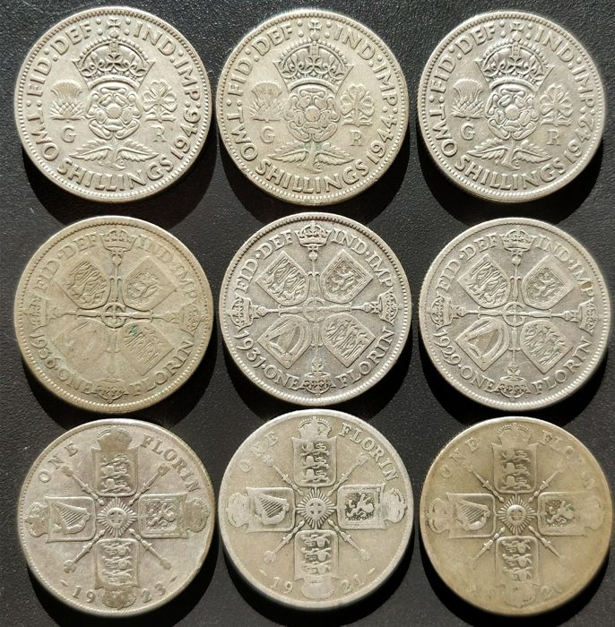 United Kingdom - Florins (Two Shillings) 1920/1946 George V and VI (9 pieces) - silver