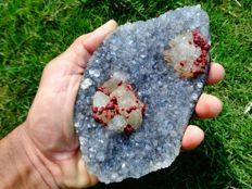 Red fluorite crystal with calcite on quartz - 15 x 8.5 cm - 476 gm
