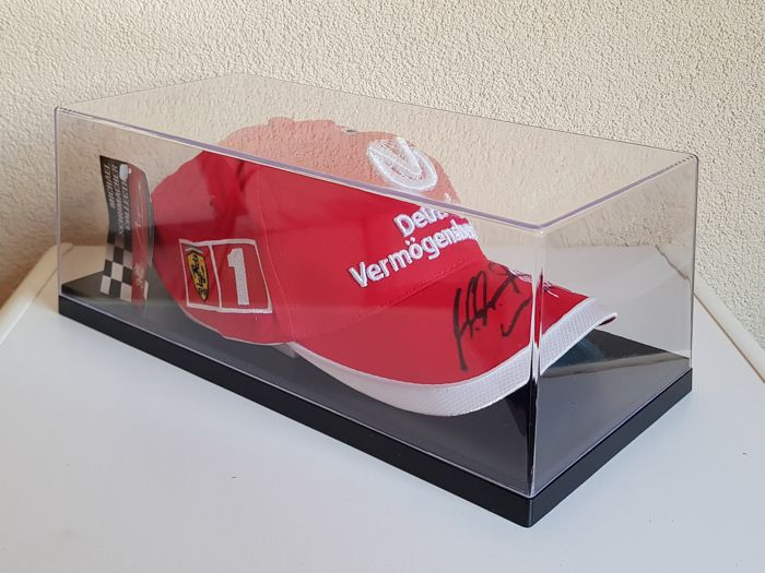 Michael Schumacher - Ferrari Cap  - hand signed in new displaycase + COA