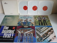 Great Beatles and Beatles related lot with 4 single albums, 2 double albums and one box set : the Silver Beatles Live in Hamburg, John Lennon, Ringo Starr, Tony Sheridan & Guests, Splinter