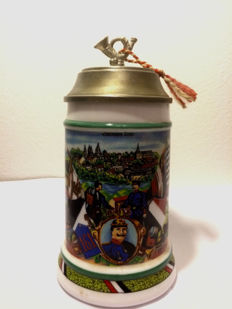 Regimental Beer Stein with Tin Lid - 161 Garnison Trier - German Reich 1900