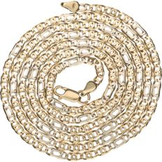 14 kt bi-colour gold curb link necklace – 62 cm
