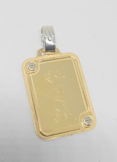 Pendant Plaque with Chinese letters - 18 kt Yellow Gold - Length: 3.4 mm