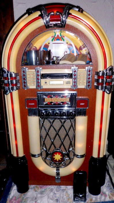 "XXL music box retro jukebox ""Wurlitzer"" ELTA 2753, with radio, tape deck and CD player, remote control in Western style, super!!"