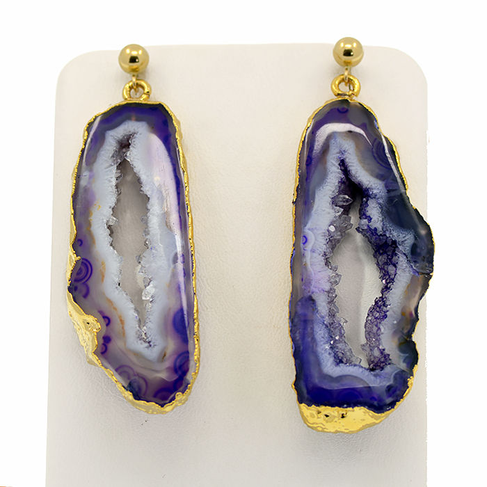 18k/750 yellow gold earrings with two druzy agates - Length, 50 mm.