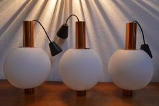 Unknown designer - satined opalne glass and aluminiom design ceiling lamps (3x).