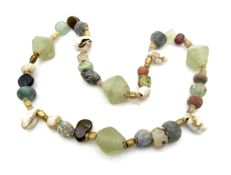 Viking Necklace with Coloured Glass Beads and Sea Shells  - 440 mm