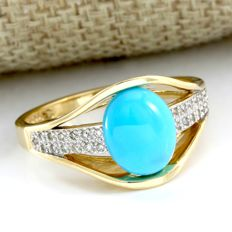 14 kt Yellow Gold 10x7 mm Turquoise, 0.45 ct Diamond Ring, Size: 10