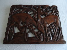 Wood carving of 2 antelope from Zaire, 1970s