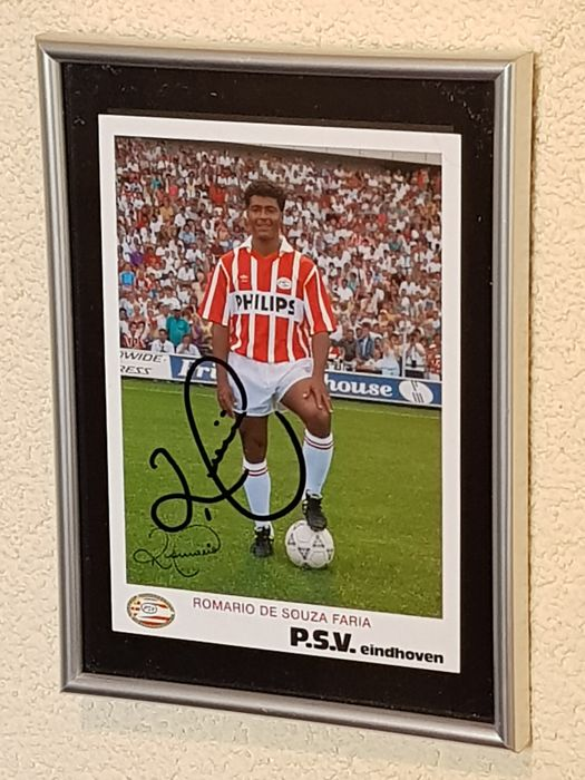 Romario - Brasil, PSV, Barcelona - hand signed official old framed playerscard + COA