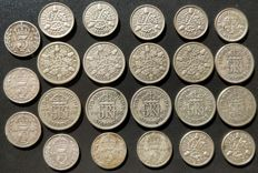 United Kingdom - 3 Pence and 6 Pence 1916/1946 George V and VI (23 pieces) - silver