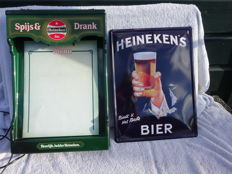 Advertising board / illuminated box made of plastic - Heineken - circa 1980 + Heineken advertising sign circa 2010.