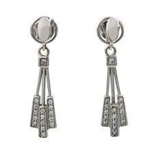 White gold, 750/1000 (18 kt) - Earrings - Brilliant-cut diamonds of 0.60 ct - Earring height: 33.60 mm (approx.)