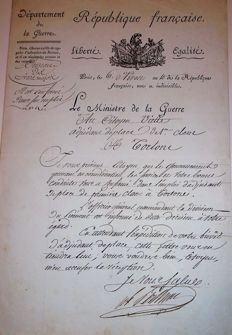 Signed autograph letter from the Marshal BERTHIER Bonaparte's Minister of war YEAR 10  (1802) Tortone