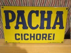 "Top ENAMEL SIGN 1939 ""PACHA CICHOREI"" Koekelberg Brussel"