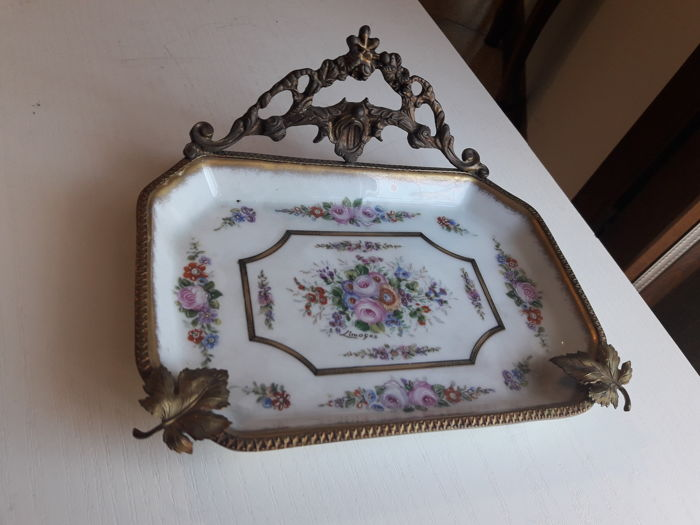 Limoges hand painted porcelain tray - France, 20th century