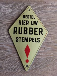 Advertising sign - Bestel hier uw rubber stempels - ca. 1930