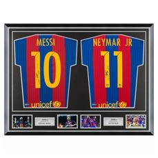 Lionel Messi and Neymar JR / FC Barcelona - Ultra rare Dual signed & Classic Deluxe Framed shirts + COA and Photoproof.