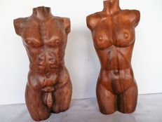 Sculpture; Set with 2 torsos (man & woman) of suar wood from Bali-late 20th century
