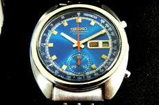 SEIKO Saxe Blue (6139-6012) Chronograph with Box & Original Band - Men's Automatic Watch - Vintage Year 1977