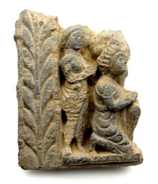Gandhara Stone Panel with Two Praying Figures - 160x123x37mm