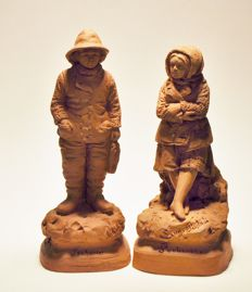 Eugène and Achille Blot: Two terracotta sculptures of a fisherman and his wife