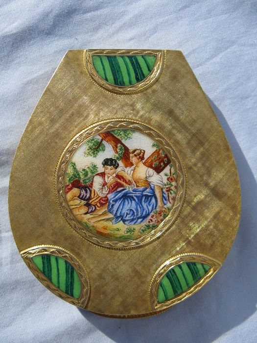 Silver Vermeil 800/1000 Powder Compact with enamels - F.lli Piccini Ponte Vecchio - Florence (Italy), first quarter of 1900s