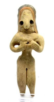 Indus Valley Terracotta Fertility Idol of Mother Goddess with a Baby  - 112 mm