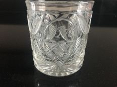 A cut crystal commemorative glass with initials JPH, Germany or Bohemia, dated 1843