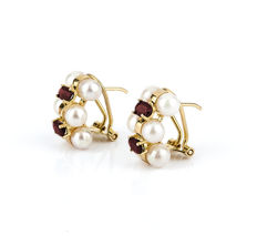 18 kt yellow gold - Earrings - Rubies 1.20 ct  - Akoya pearl 4.75 mm - Earring height 15.15 mm
