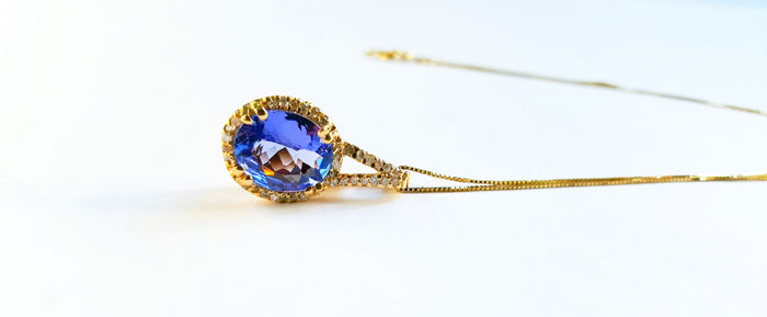 14 kt gold pendant with tanzanite and diamond, including 14 kt gold necklace - No Reserve